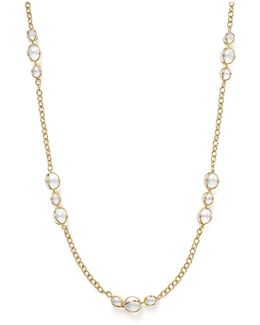 18k Gold Amulet Necklace With Rock Crystal And Diamonds