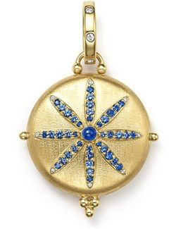 18k Gold Sorcerer Locket With Sapphire And Diamonds