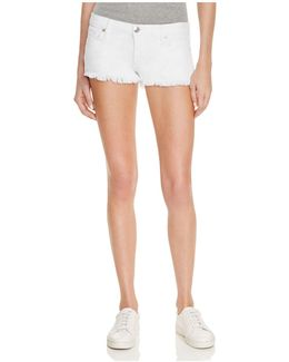 Joey Cutoff Denim Shorts In Optic White