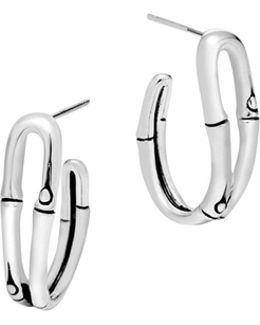 Bamboo Silver Small Hoop Earrings
