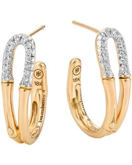 Bamboo 18k Gold And Diamond Small Hoop Earrings