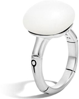 Batu Bamboo Silver Ring With White Moonstone