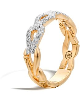 Bamboo 18k Gold And Diamond Link Ring