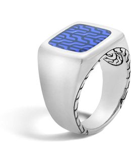 Classic Chain Silver Signet Ring With Transparent Blue Enamel