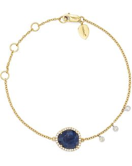 14k Yellow And White Gold Sapphire Bracelet With Diamonds