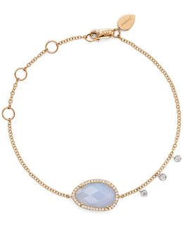 14k Rose And White Gold Chalcedony Bracelet With Diamonds