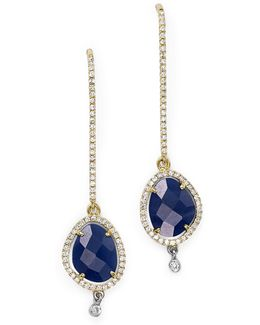 14k Yellow And White Gold Blue Sapphire Dangle Earrings With Diamonds