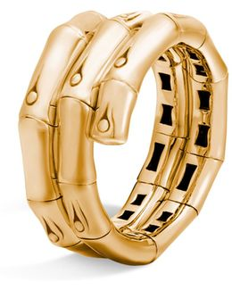 18k Gold Bamboo Double Coil Ring