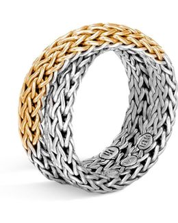 Sterling Silver & 18k Gold Classic Chain Woven Ring