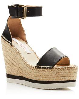 Glyn Leather Espadrille Platform Wedge Ankle Strap Sandals