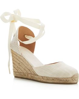 Tall Lace Up Espadrille Wedge Sandals