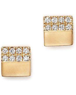 14k Yellow Gold Jeanie Ann Stud Earrings With Diamonds