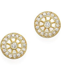 14k Yellow Gold Filigree Charm Stud Earrings With Diamonds