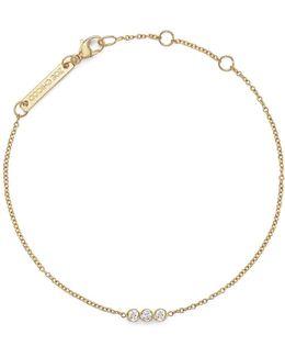 14k Yellow Gold Bracelet With Bezel-set Diamonds