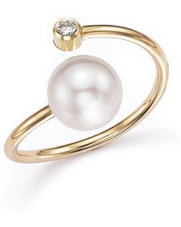 14k Yellow Gold Bypass Ring With Cultured Freshwater Pearls And Diamonds