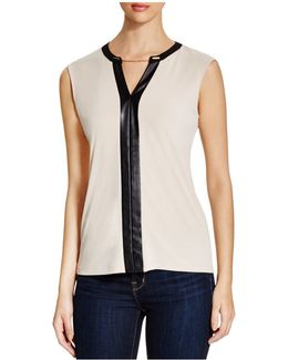 Chain & Faux Leather Trimmed Top