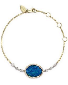 14k Yellow Gold And White Gold Opal Bracelet With Diamonds