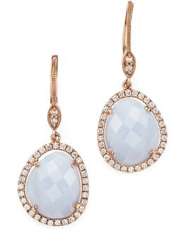 14k Rose Gold Chalcedony Dangle Earrings