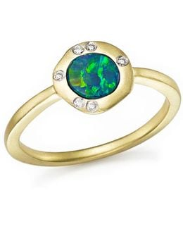 14k Yellow Gold Opal Ring With Diamonds
