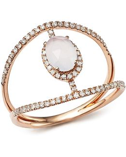 14k Rose Gold Chalcedony Cage Ring With Diamonds