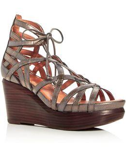 Joy Metallic Lace Up Wedge Sandals