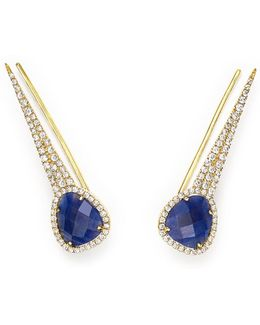14k Yellow Gold Blue Sapphire Ear Climber Earrings With Diamonds