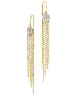 14k Yellow Gold And 14k White Gold Fringe Earrings With Diamonds