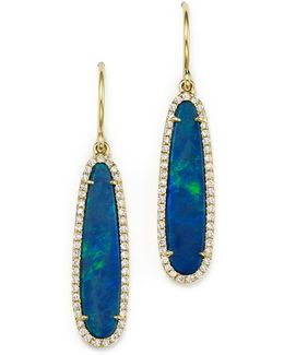 14k Yellow Gold Opal Earrings With Diamonds