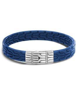 Men's Sterling Silver Classic Chain Bracelet With Blue Leather