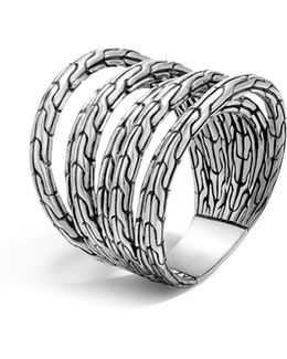 Sterling Silver Classic Chain 4-band Ring