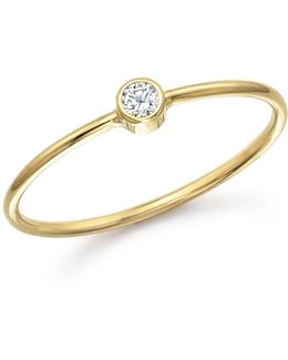 14k Yellow Gold And Diamond Bezel Thin Ring