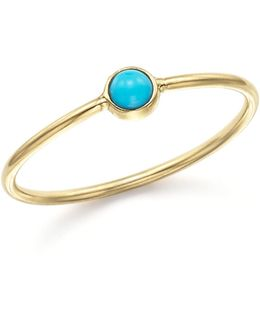 14k Yellow Gold And Turquoise Bezel Thin Ring