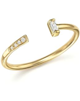 14k Yellow Gold Open Ring With Baguette And Pavé Diamonds
