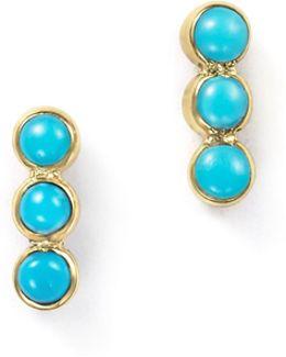 14k Yellow Gold Triple Bezel Turquoise Stud Earrings
