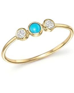 14k Yellow Gold Bezel Set Ring With Turquoise And Diamonds