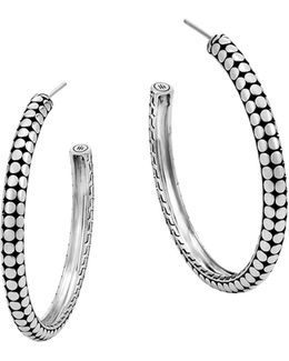 Sterling Silver Dot Small Hoop Earrings