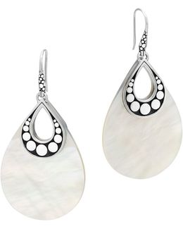 Sterling Silver Dot Drop Earrings With Mother-of-pearl