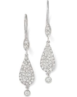 14k White Gold And Pavé Diamond Teardrop Earrings