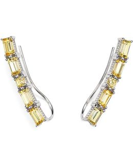 Sterling Silver Lafayette Ear Climbers With Canary Crystal
