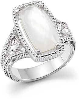 Sterling Silver 3-stone Harmony Ring With Mother-of-pearl And Rock Crystal Quartz Doublet