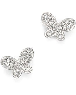 Diamond Butterfly Stud Earrings In 14k White Gold