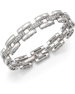 18k White Gold Retro Diamond Link Bracelet