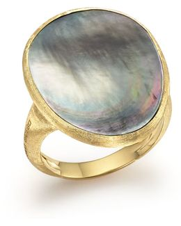 18k Yellow Gold Lunaria Ring With Black Mother-of-pearl