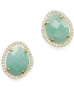 14k Yellow Gold Amazonite Stud Earrings With Diamonds