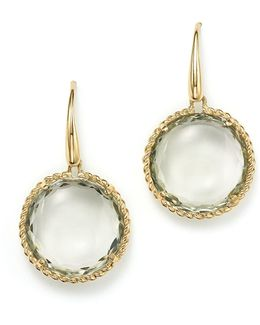 18k Yellow Gold Ipanema Round Earrings With Green Amethyst