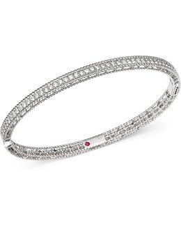 18k White Gold Symphony Braided Bangle Bracelet With Diamonds