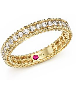 18k Yellow Gold Symphony Braided Ring With Diamonds