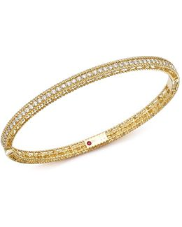 18k Yellow Gold Symphony Braided Bangle Bracelet With Diamonds