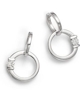 18k White Gold Circle Earrings With Diamonds