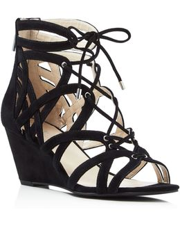 Dylan Caged Lace Up Wedge Sandals